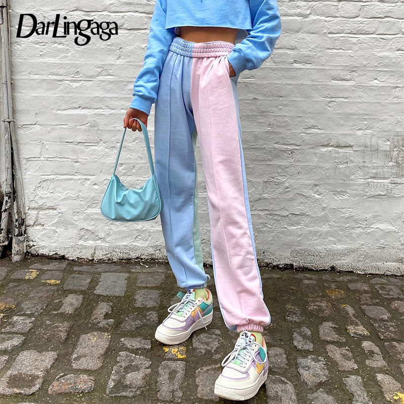 Darlingaga Streetwear Patchwork Sweatpants Women Joggers High Waist Pants Contrast Color Casual Trousers Sweat Pants Bottom 2020