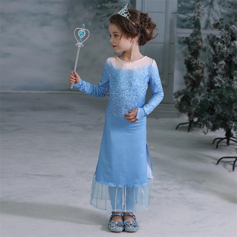 H76b297fbe2f8415bb438776d1dd215bfl 2019 Elsa Dresses For Girls Princess Anna Elsa Costumes Party Cosplay Elza Vestidos Hair Accessory Set Children Girls Clothing