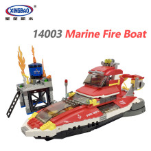 XINGBAO 14003 New City Fire Fighting Series The Marine Fire Boat Set Building Blocks DIY Assault Boat Bricks Educational Toys in stock 05042 star 1200pcs series wars the republic fighting cruiser set building blocks bricks educational toys lepin