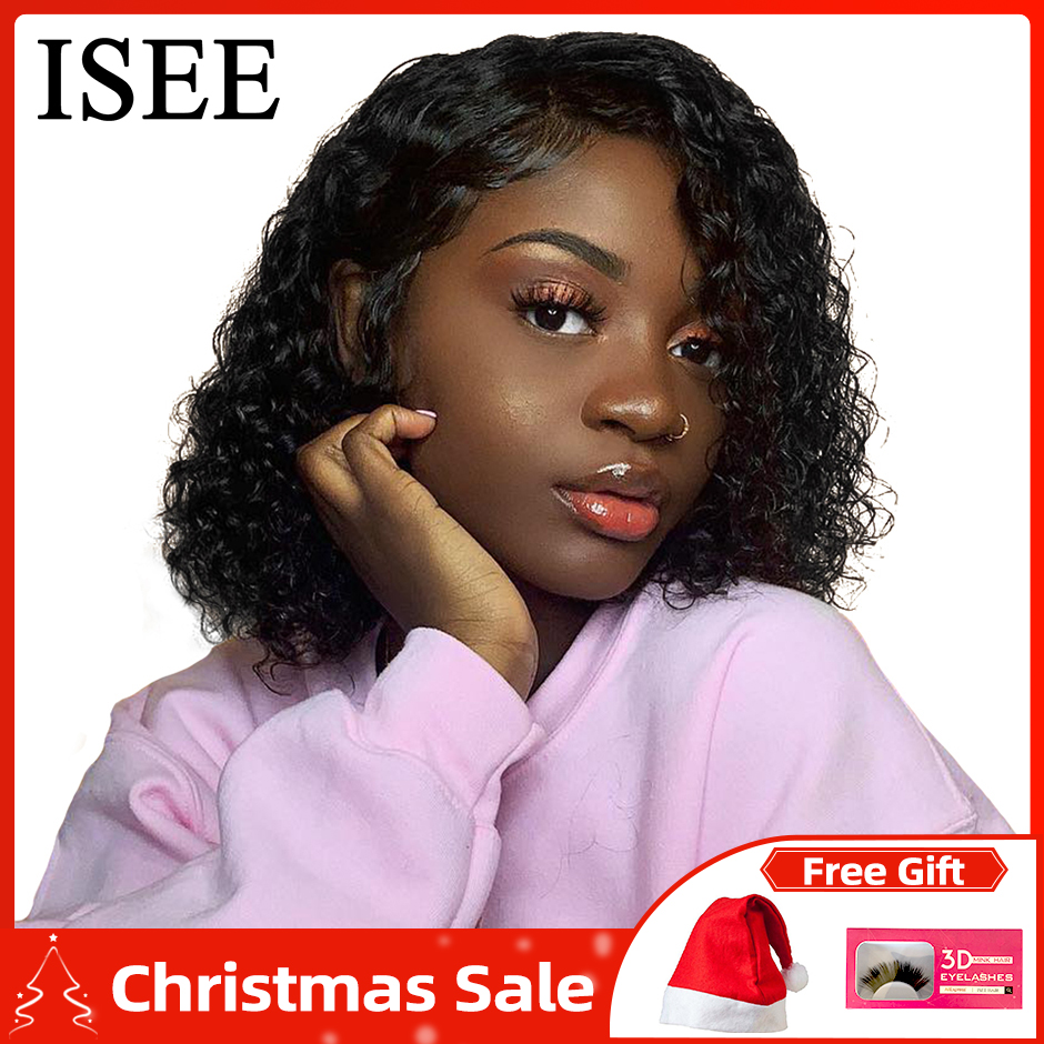 ISEE HAIR Short Bob 360 Lace Frontal Wig Remy Lace Front Human Hair Wigs For Women Brazilian Water Wave Bob Lace Front Wigs