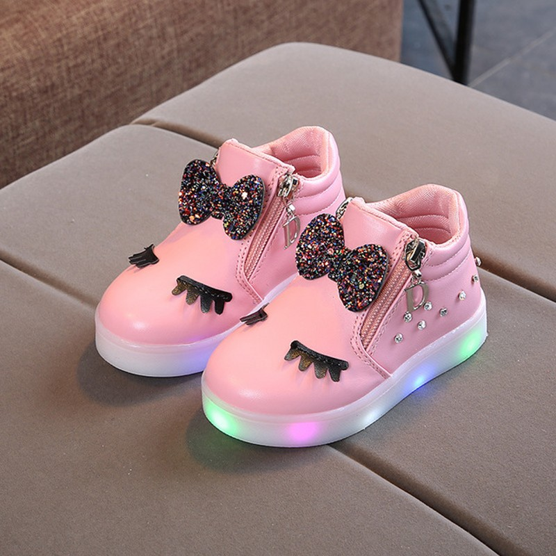 New Fashion Children Glowing Shoes Princess Bow Girls Led Spring Autumn Cute Baby Sneakers