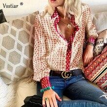 Vsstiar, винтажная атласная блузка с цветочным принтом, женская рубашка большого размера, элегантная офисная шелковая блузка, женские топы