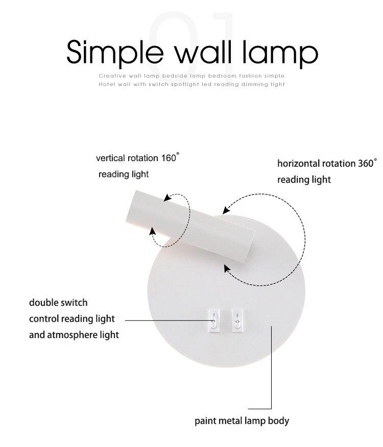 Luminária de parede led para quarto interno