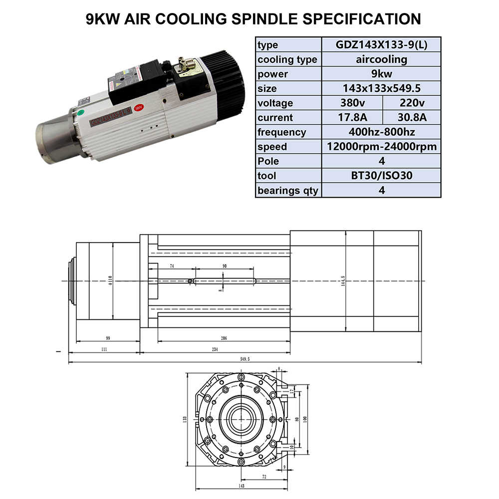 9KW làm mát bằng Không Khí Động Cơ Trục Chính 220 V/380 V 12000 ~ 24000 vòng/phút 6.4Nm 22A Ngắn/Dài đầu Động Cơ Trục Chính Máy CNC