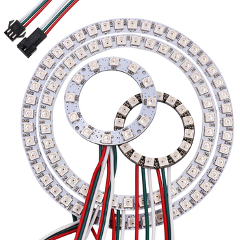 цена на 5V Pixel Ring Round LED Circle Addressable WS2812B SK6812 Full Color RGB LED Modules 1/8/12/16/24/32/40/48/60/241 Led
