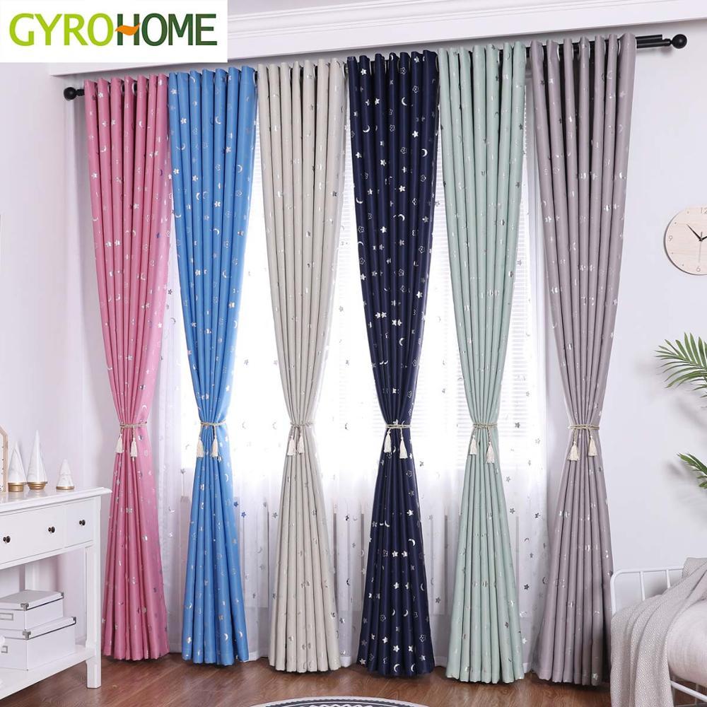 Hot Sale Small Star Moon Blackout Curtains For Livingroom Bedroom Kids Room Children Boys Girl Room