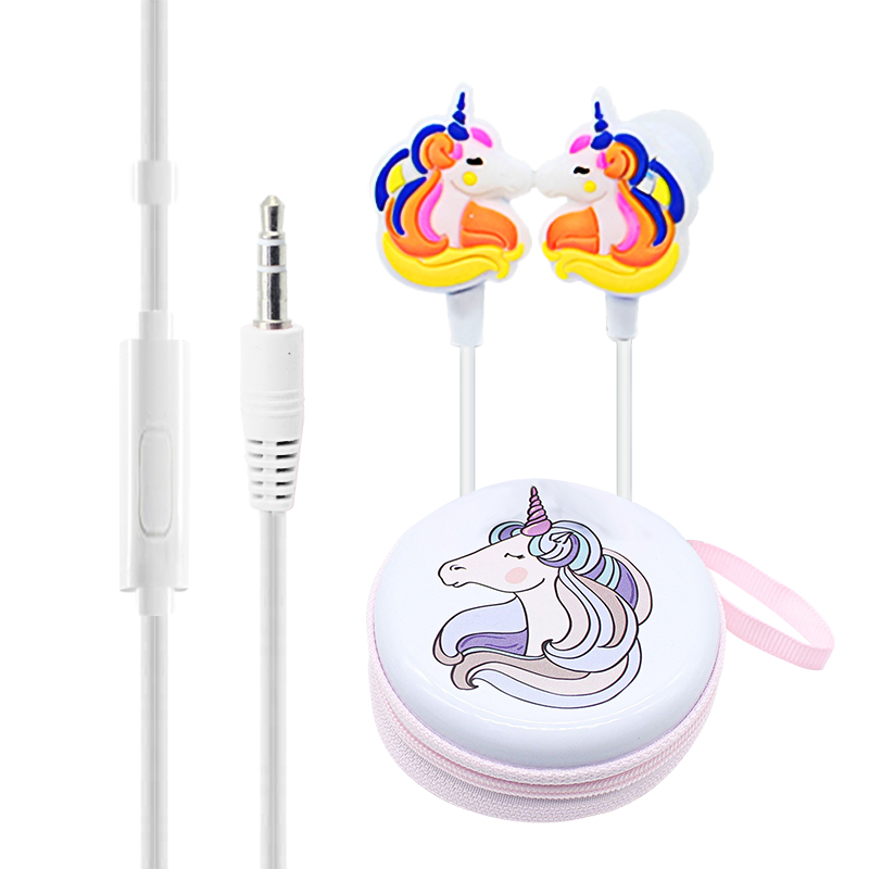 2019 Cute Cartoon Unicorn Headphones Earphones Kids Girl Music Wired Headphone With Unicorn Gift Case For Mobile Phone PC Gifts