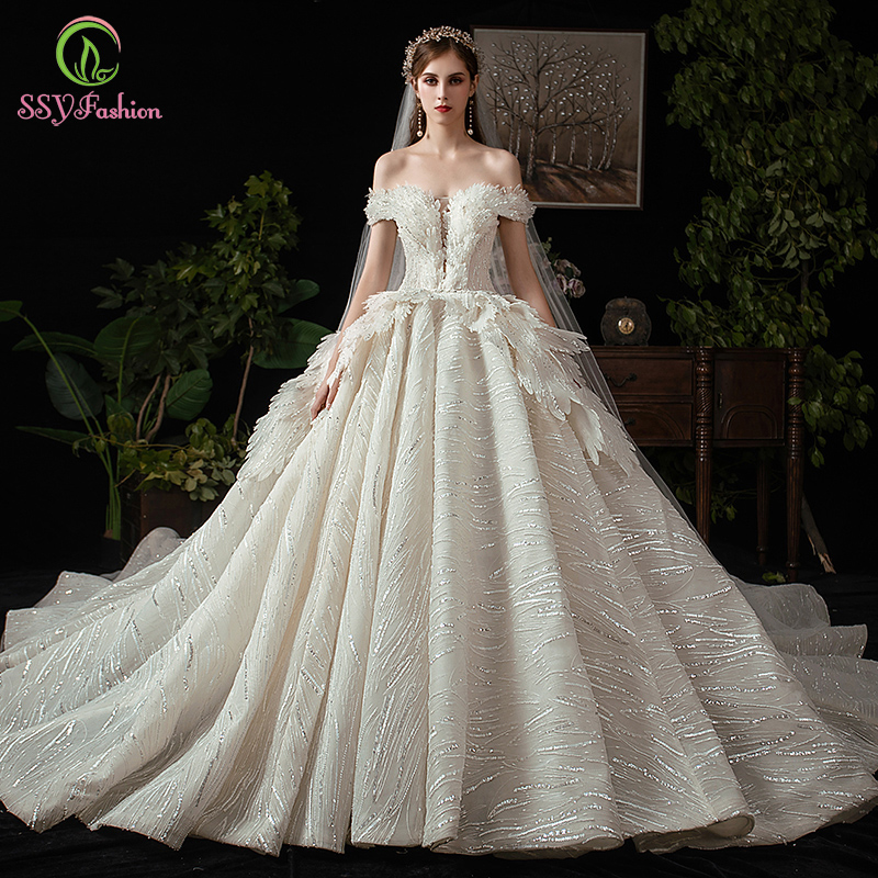 SSYFashion New High-end Wedding Dress Vintage Palace Princess Luxury Boat Neck Tiered Sequins Ball Gown Vestidos De Novia Custom