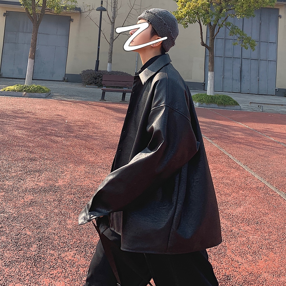 2020 Men's Black Color Long Pu Leather Clothing Zipper Outerwear Trench Russian Bomer Jacket Loose Leisure Fashion Coat M-2XL