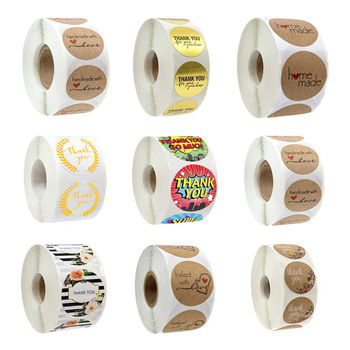 500Pcs/Roll Sealing Label Stickers Thank You Adhesive Stickers Kraft Baking Paper Stickers For Gifts Craft Handmade Stationery