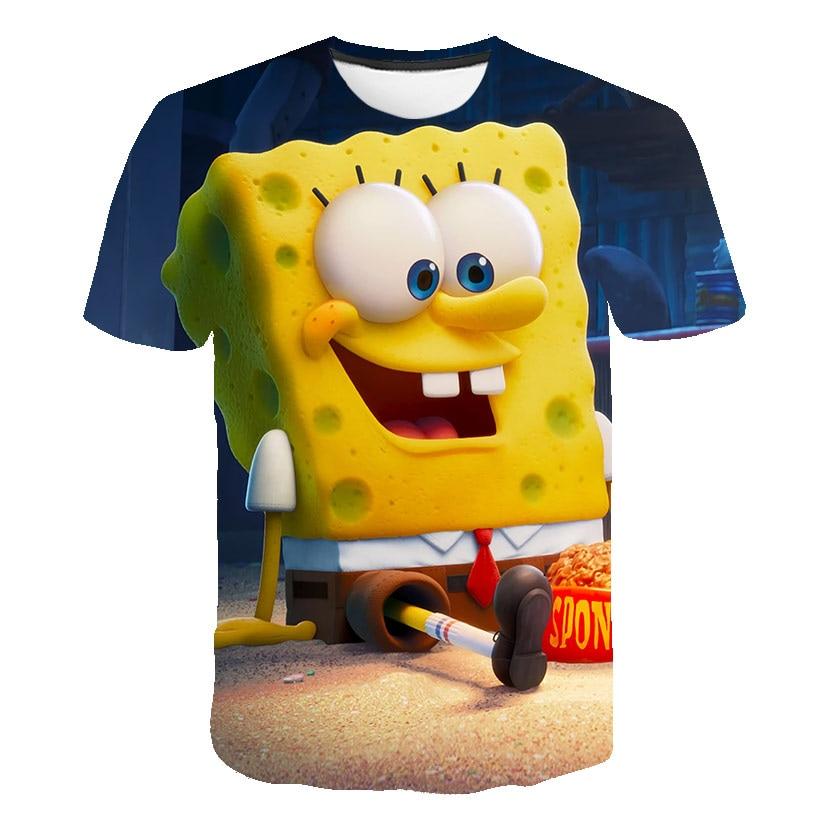 New 3D Sponge Kids T Shirt Print Boys and Girls Funny Clothes Children 2021 Summer Tops Hot Cartoon Kids Clothes Baby T Shirts