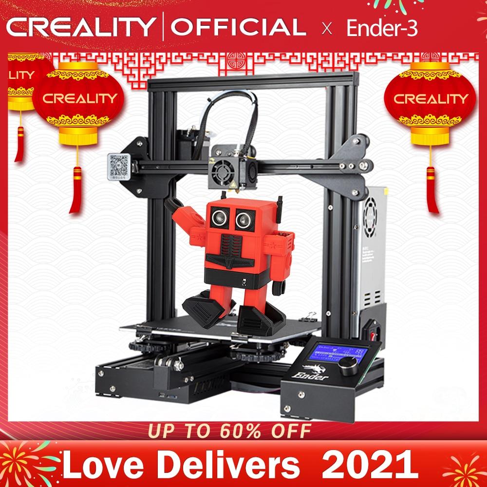 CREALITY-impresora 3D Ender-3/Ender-3X, máquina de impresión mejorada opcional, ranura en V, función de apagado y reanudar