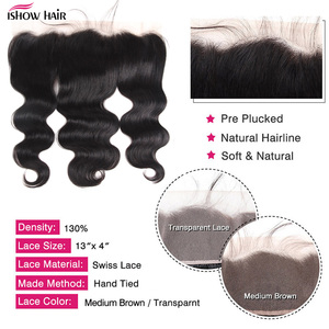 Image 5 - Ishow przezroczysty koronkowy Frontal z wiązkami doczepy typu Body Wave z przednim malezyjskie naturale włosy 3 wiązki z przednim zamknięciem