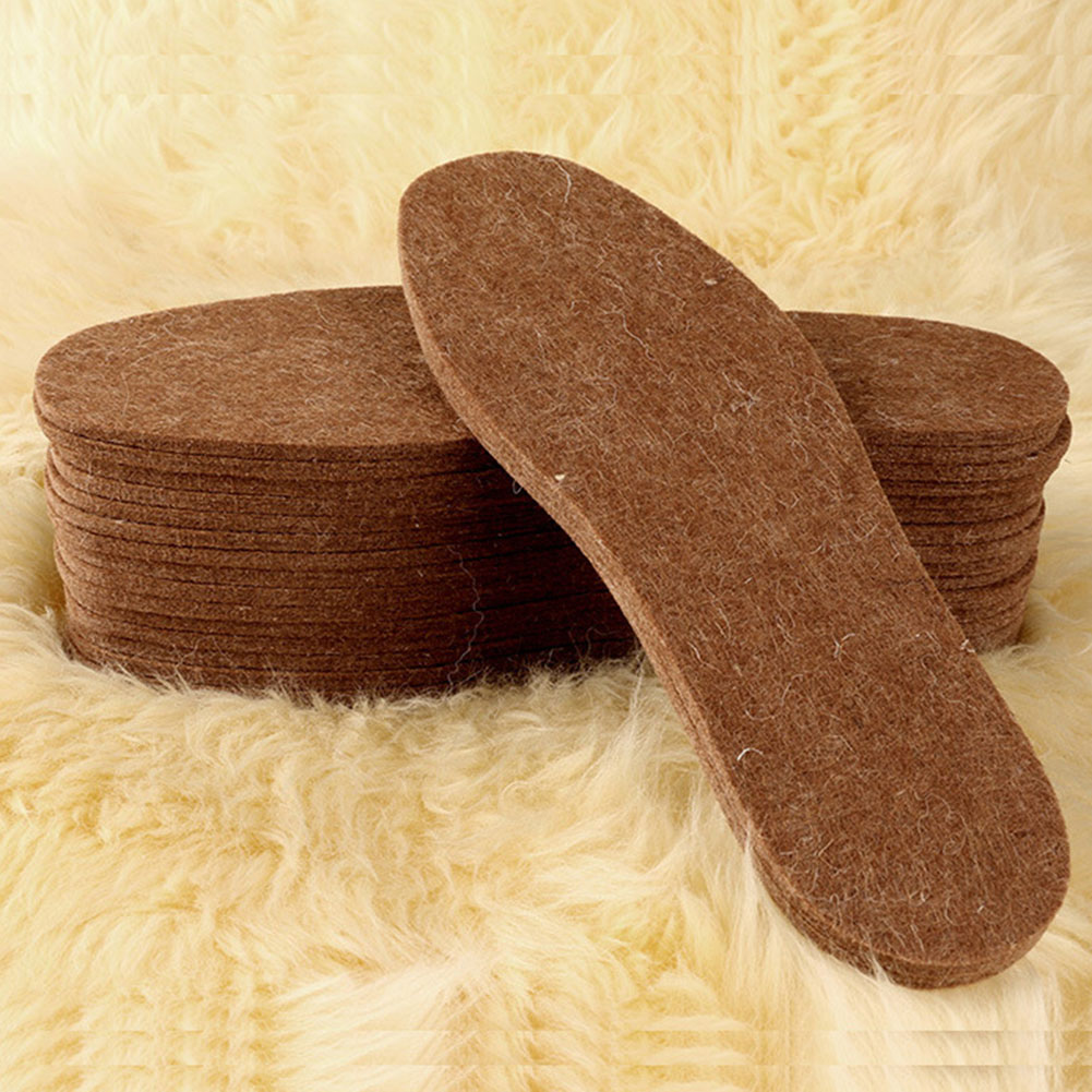 1Pair Wool Felt Insoles For Shoes Winter Warm Soft Thicken Cotton Shoe Pads Unisex Breathable Can Be Cut Insoles Solid Shoe Pad