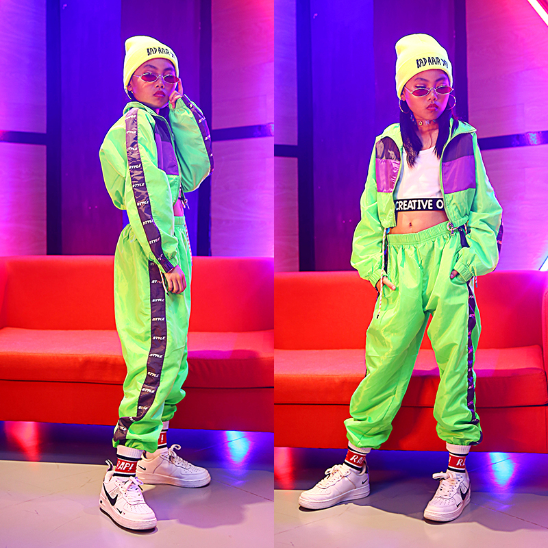 Children'S Fluorescent Street Dance Costumes Girls Hip Hop Loose Jazz Dance Performance Set Kids Modern Costumes Outfits DL4381