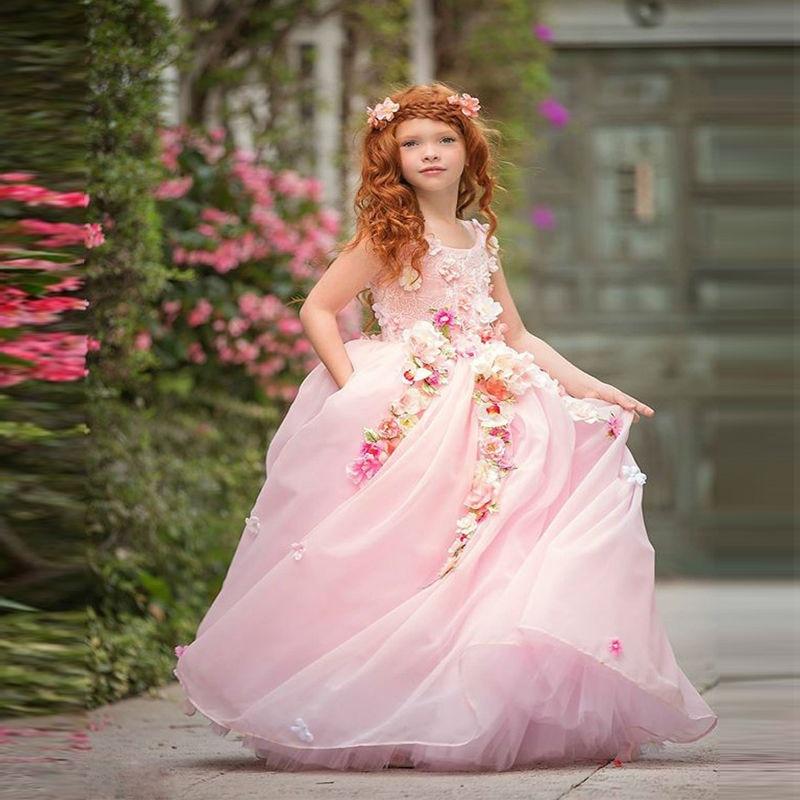 Pink 2019   Flower     Girl     Dresses   For Weddings Ball Gown Tulle Pearls Long First Communion   Dresses   Little   Girl