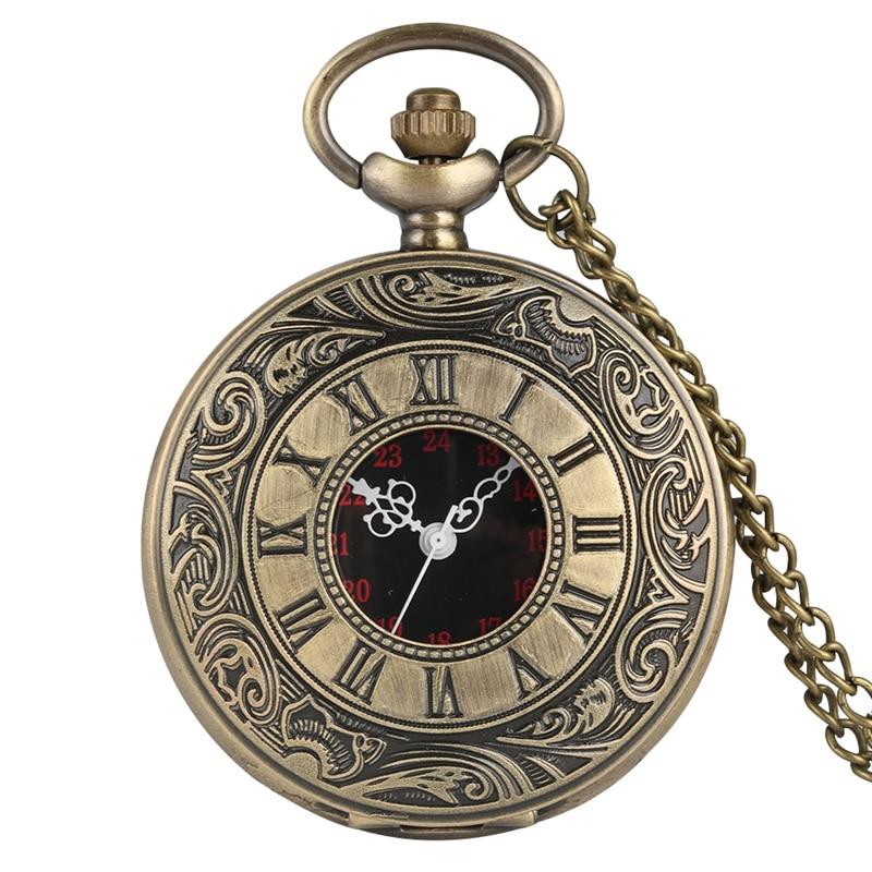 Antique Fashion Roman Numeral Display Quartz Pocket Watch FOB Chain Clock Necklace Pendant Christmas Gifts For Men Women Friends
