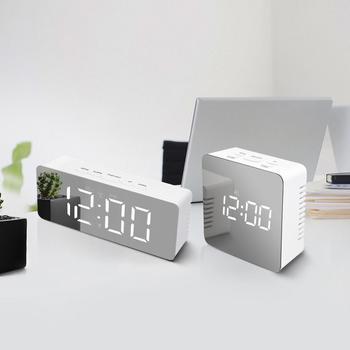 Zegar ścienny LED zegarek nowoczesny krótki Design 3D DIY elektroniczne wielkie lustro Alarm stołowy zegary biuro dzieci pokój data czas zegar na biurko tanie i dobre opinie CN (pochodzenie) Nowoczesne SQUARE Szklane i kryształowe Pojedyncze twarzy Cyfrowy Zegary ścienne 30mm grubości płyty