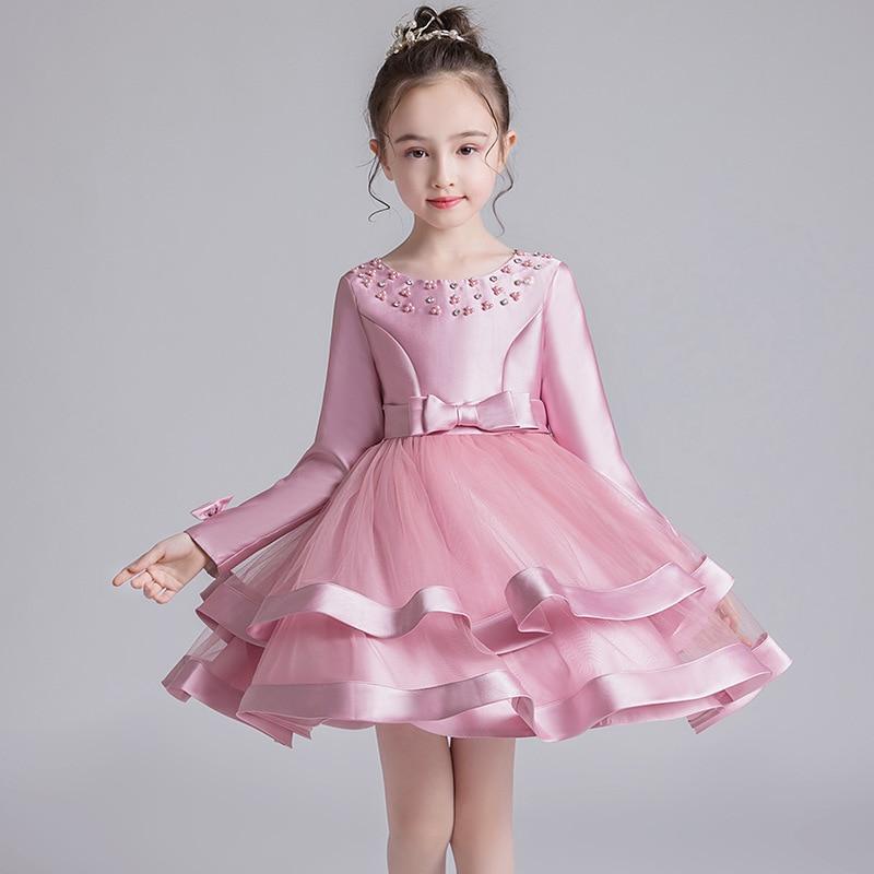 CHILDREN'S Full Dress 2019 Autumn And Winter Long Sleeve Puffy Gauze Skirt Girls Princess Skirt Large Childrenswear Costume