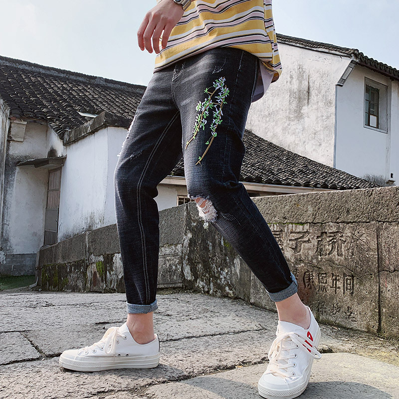 New Style Retro Embroidered Jeans Men's Embroidery Cool Capri Pants Elasticity Slim Women's Skinny With Holes Thorn Flower Popul