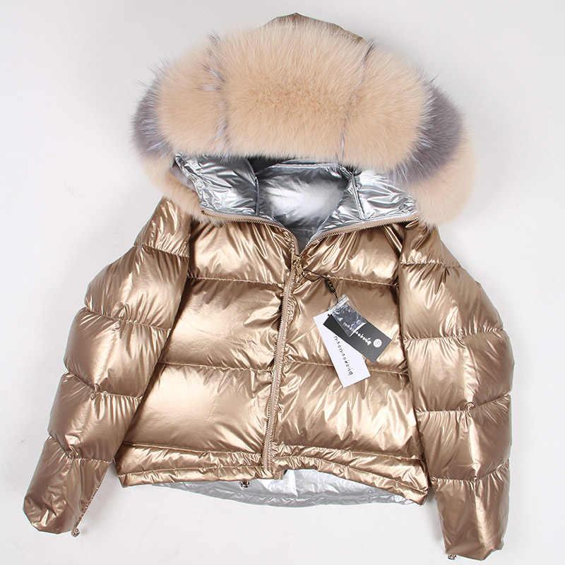 天然フォックス毛皮の襟女性の 2019 冬のジャケットの女性のダウンジャケットホワイトダックダウンジャケット厚く暖かいダウンジャケット w