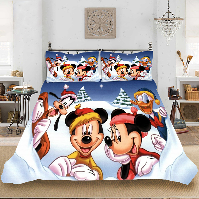 Christmas Tree Mickey King-Full Size Soft Bedding set Bedclothes Include Duvet Cover Pillowcase Print Home Textile Bed Linens