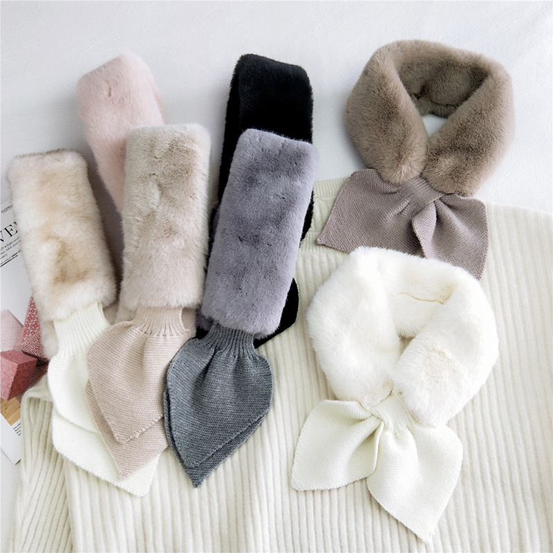 Bufanda de felpa de 85x9cm para mujer, pañuelo tejido de lana, bufanda cruzada con forma de corazón de melocotón, larga, ceñida, Color sólido, cuello de piel sintética, bufanda de invierno, calentador de cuello