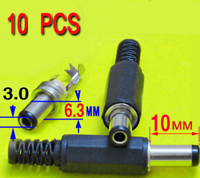 DHL/EMS  500mm 6.3mm 3.0mm DC Power Plug Socket Connector 10pcs -A8