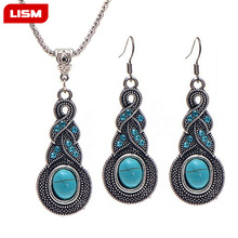 Blue Crystal Necklaces For Women Fashion Link Pendant Jewelry Set Retro Pattern Blue Necklace Earrin