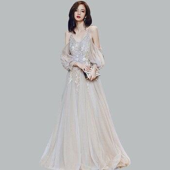 Elegant Evening Dress CR423 Spaghetti Strap Robe De Soiree V-Neck Long Sleeve Women Party Dresses Embroidery Beading Formal Gown