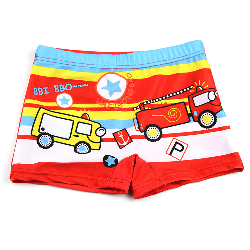 [Baby Pavilion Specifically For] Children Cute Car Cartoon Swimming Trunks BOY'S Hot Springs Boxer Baby Swimming Suit