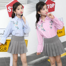 цены на Girls School Blouse With Striped Korean Style Kids Ruffle Flare Sleeve Crop Top Teenager Floral Embroidery Shirts for Girls  в интернет-магазинах