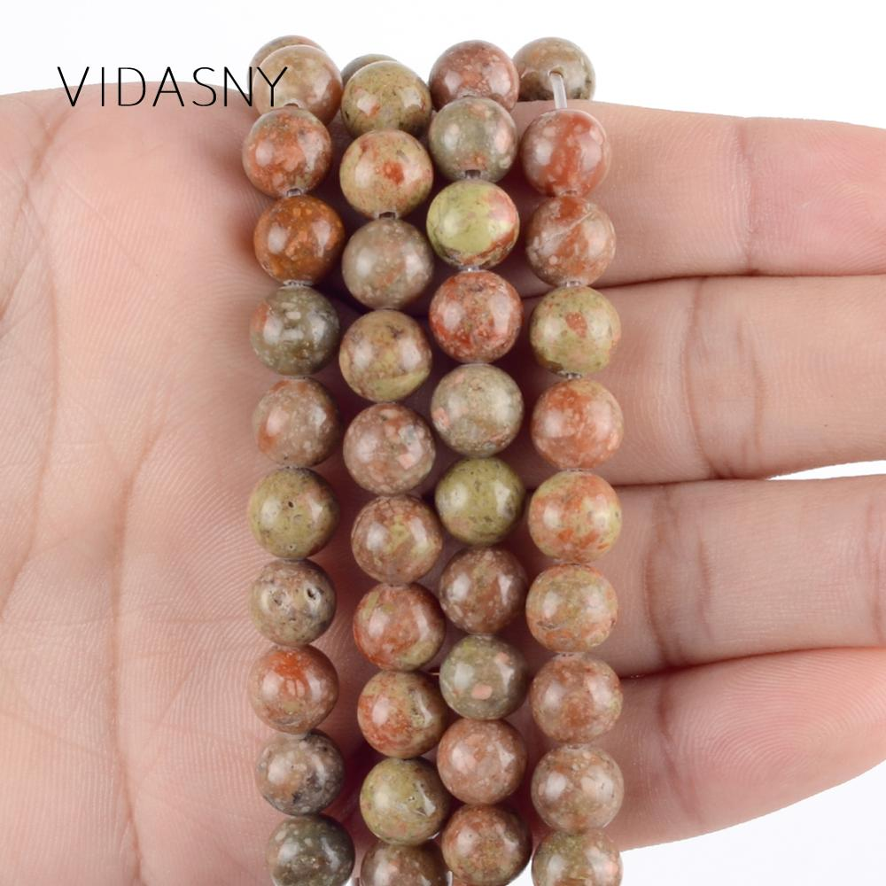 Natural Unakite Stone Round Loose Beads Spacer Beads For Jewelry Making Diy Bracelet Necklace 4 6 8 10 12mm 15 39 39 Wholesale in Beads from Jewelry amp Accessories