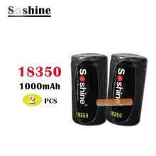 2 шт Soshine 18350 батарея 1000mAh 3,7 V литий-ионная аккумуляторная батарея с батареей защитный ящик для хранения