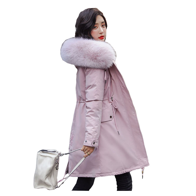 Chic Fur   Coat   Hooded Winter   Down     Coat   Warm Jacket Long Slim Women Cotton padded Wadded Parka female jacket Fur lining