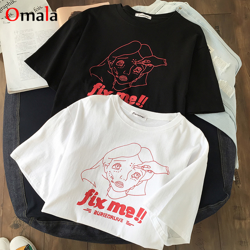 Summer Simple White Black Women T Shirt Korean Short Sleeve T-shirts Female Funny Print Tops Casual Loose O-Neck Womens Clothing
