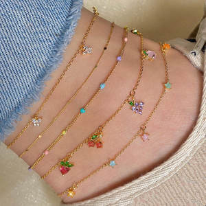 Anklets Bracelet Jewelry Crystal Butterfly Gifts Star Fashion Women for Party Fruit Sweet