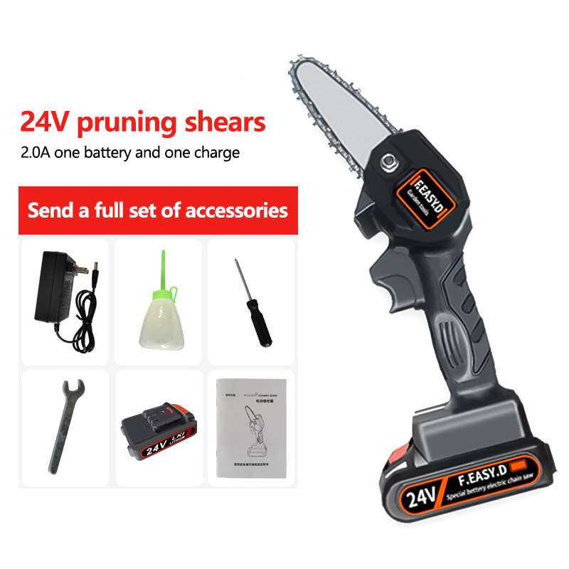 Cordless Electric Chain Saw Household Small Handheld Electric Saw Wireless Outdoor Logging Orchard Electric Pruning Saw