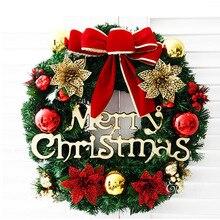 30 см Рождественский венок на дверь подвесные рождественские украшения Моделирование цветы Статуэтка фон с рождественской елкой аксессуары