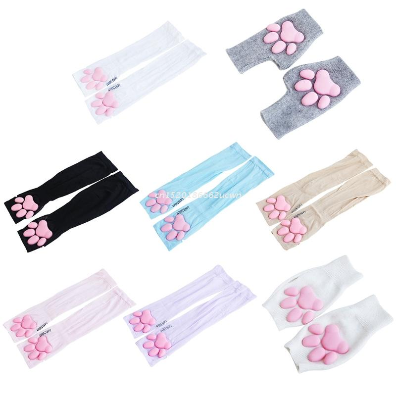 UV Sun Protection Stretchy Cute Cat Claw Fingerless Sleeves Tattoo Cover Up Outdoor Sports Arm Sleeves Cute Warm Gloves Dropship