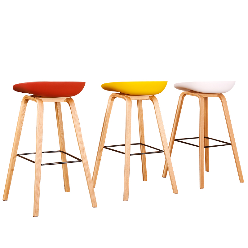 Nordic Solid Wood Bar Stool Home  Chair   Plastic  Front Desk Cashier