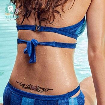 Hot Sale 2020 Butterfly Flower Girls Temporary Tattoo Black Design Waist Body Fake Tattoo Sticker Leg Belly Waterproof For Women 2