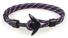 Wholesale Fashion Silver Black Anchor Bracelets Men Charm Rope Chain  Bracelet Male Wrap Metal Sport Hooks