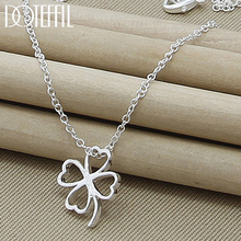 DOTEFFIL 925 Sterling Silver Four Leaves Clover Pendant Necklaces 18 Inch Chain For Mother Woman Jewelry Gift