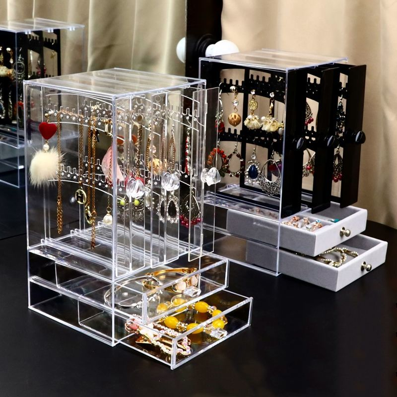 Multifunctional Transparent Jewelry Box Dustproof Display Stand Three-dimensional Large Capacity Necklace Earring Storage Box