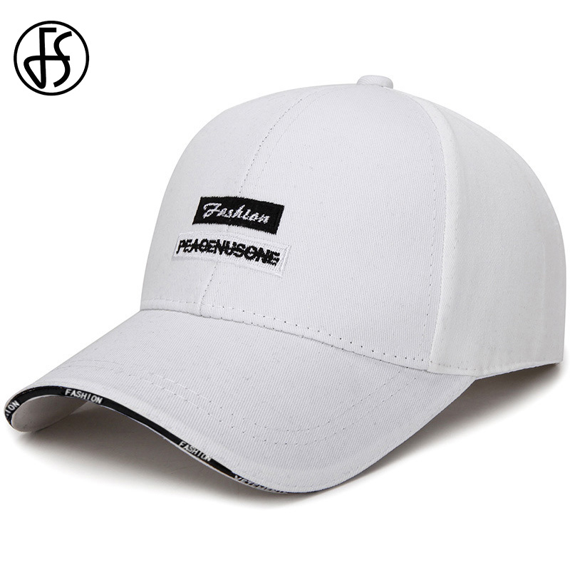 FS White Black Letter Cap Summer Dad Hat Embroidery Women Men Outdoor Sport Baseball Caps Adjustable Hip Hop Trucker Hat 2020