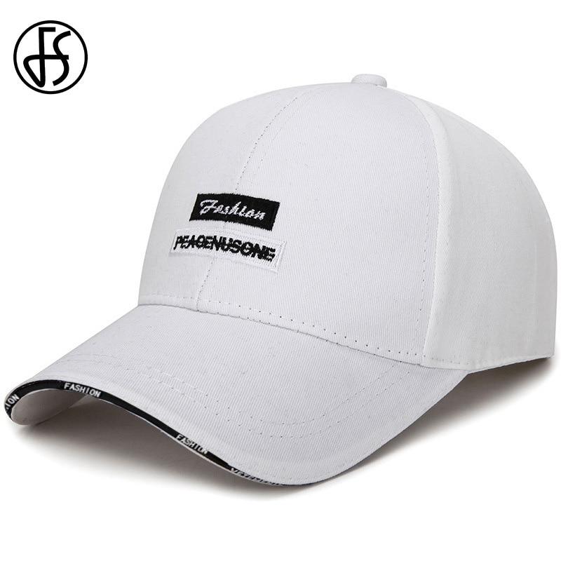 FS White Black Letter Cap Summer Dad Hat Embroidery Women Men Outdoor Sport Baseball Caps Adjustable Hip Hop Trucker Hat 2020