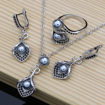 horn Flower Silver 925 Bridal Jewelry Sets Black Pearl Zircon For Women Wedding Pendant Drop Earrings Open Rings Necklace Set 925 sterling silver bridal pearls jewelry sets women wedding jewelry with pearl zircon clips earrings ring pendant necklace set