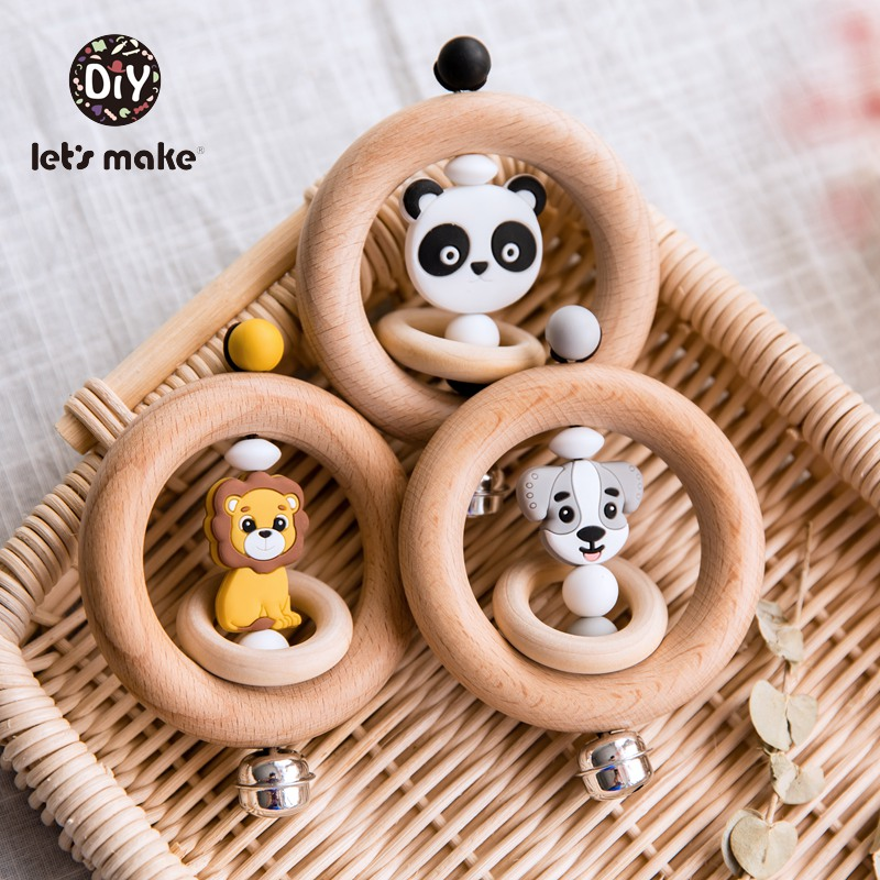 Let's Make Baby Toys Rattles For Newborns Bed Bell Wooden Ring 0-12 Months Beech 1PC Animal Panda Wood Teether Educational Toys