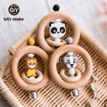 Lets Make Baby Toys Rattles For Newborns Bed Bell Wooden Ring 0 12 Months Beech 1PC Animal Panda Wood Teether Educational Toys